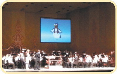 Picardy Penguin interacts with the audience at a KSO VERY Young People's Concert.